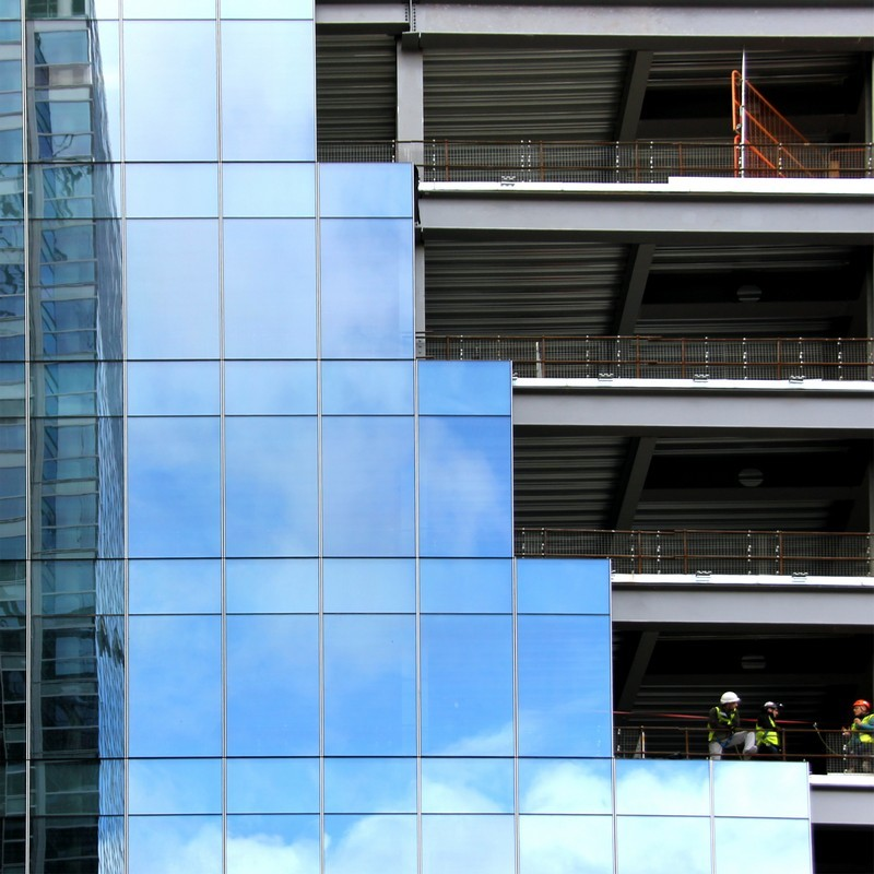 Architectural shot of Glass and Steel Building structures